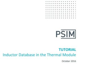 Inductor Database in the Thermal Module